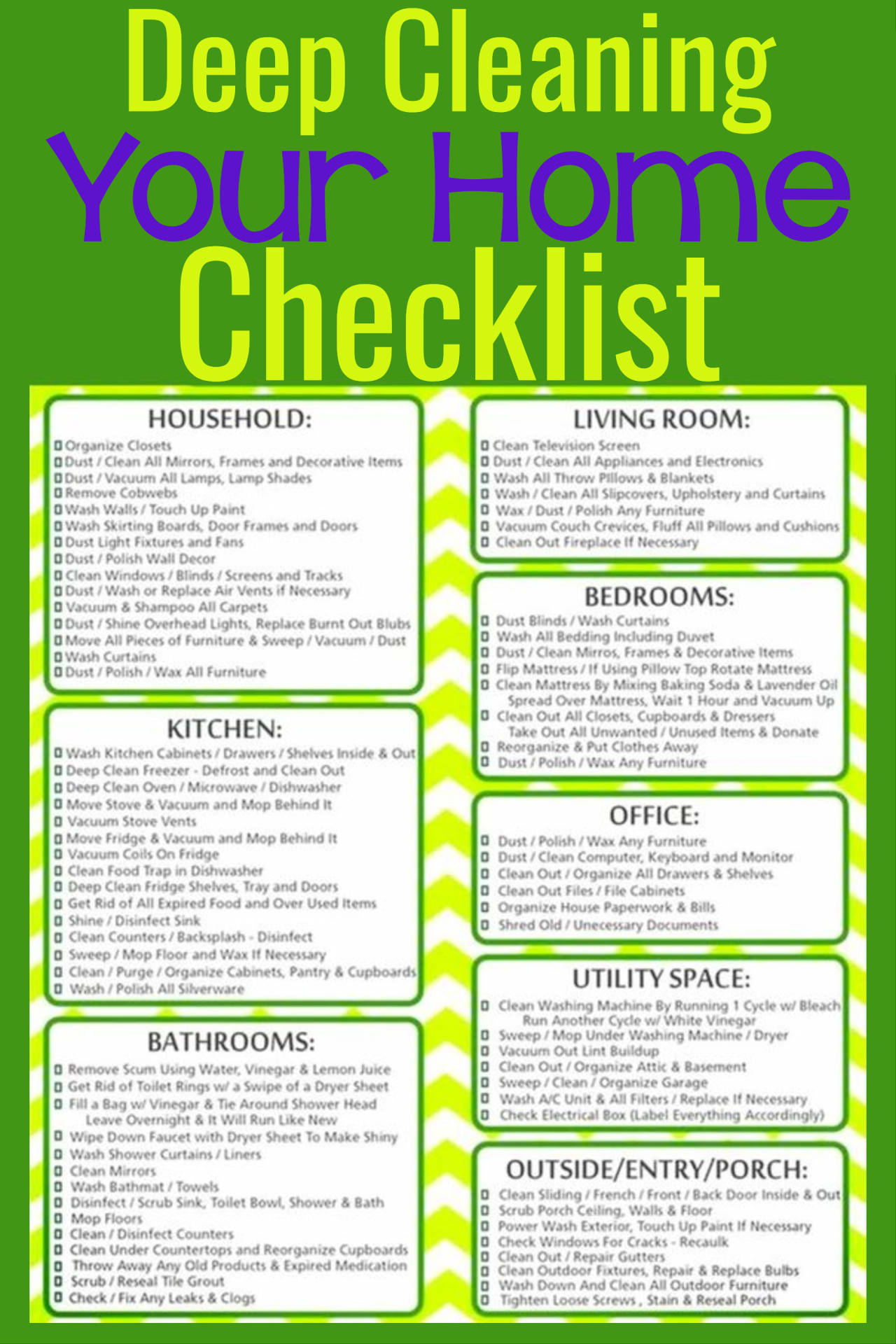 Room By Room Deep Cleaning Checklist To Help You Spring Clean Your Home Grandma S Things